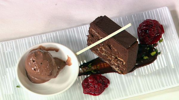 Chocolate hazelnut truffle terrine