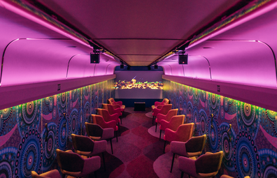 The Ghan features a light installation in one of its carriages for Partjima - A Festival in Light
