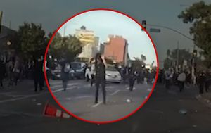 LAPD releases video showing protester being shot with 'less-lethal' round