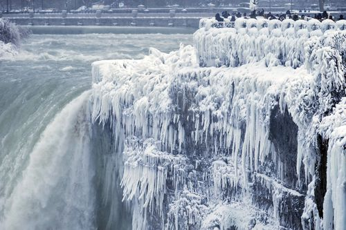 Niagara Falls was transformed into a frozen wonderland. Image: (AAP)