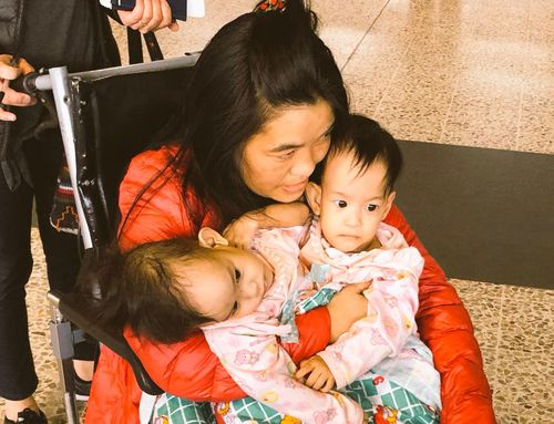 Supported by their mum, Nima and Dawa Pelden flew from their home in Bhutan to Melbourne today.