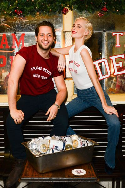 When Poppy Delevingne and Derek Blasberg call and ask you to play on their beer pong team, you put on your jeans and go. This is the exact situation Jess Hart, Dakota Johnson and others found themselves in on Tuesday night in New York when Team Poppy and Team Derek battled it out for Frame Denim's inaugural beer pong tournament. While Team Derek might have taken home the title, everyone deserved a prize for Most Stylish Drinking Game in History.