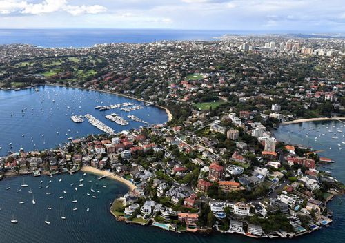An aerial image of waterfront properties in Sydney