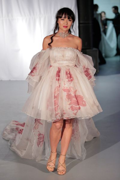 "<p>Stylist Ken Thompson says to be careful of print: ""It can make you look like an American soap opera star."" So, if you like drama, go for it.</p> <p>Malan Breton, Spring 2017, New York Bridal Fashion Week </p>"