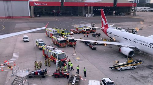 Hazmat crews and firefighters were called to the Qantas terminal just after 9am after the discovery of a unidentified package in the baggage hold of the aircraft