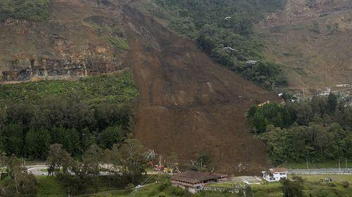 Colombian landslide that affected the Medellin-Bogota highway.