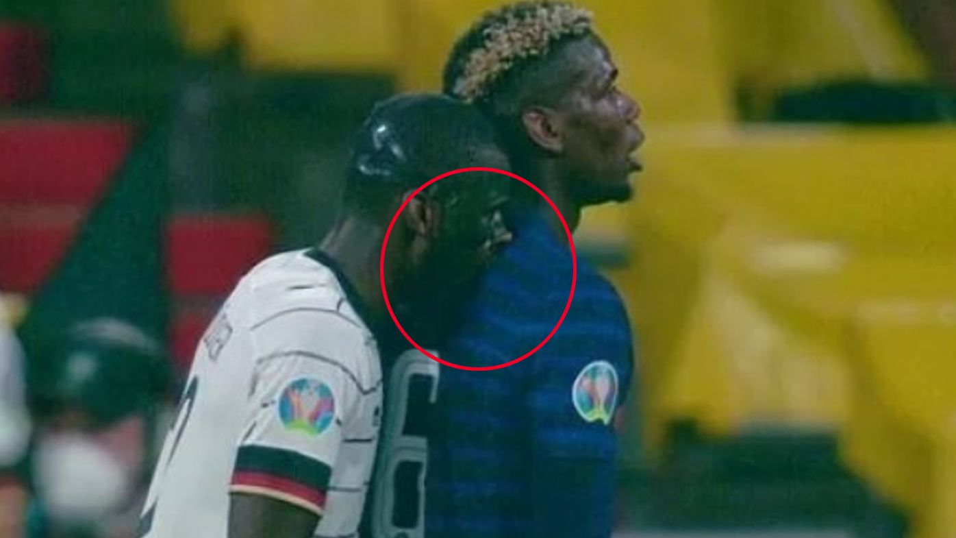 Paul Pogba's stunning reaction to Antonio Rudiger's shoulder 'nibble' in France win