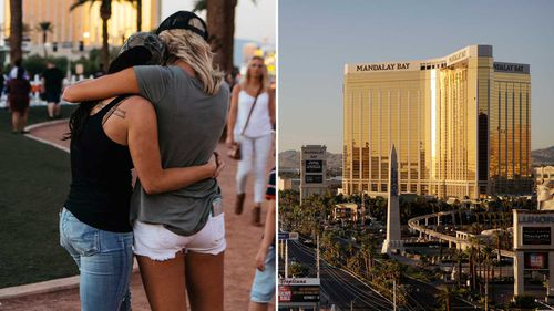 Mourners outside the Mandalay Bay casino-resort. (AAP)