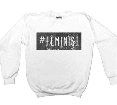 "Feminist Apparel <a href=""https://www.feministapparel.com/products/feminism-feminist-shirts-feminist-t-shirts-feminist-gifts-instagram-twitter-hashtag-feminist-womens-sweatshirt-long-sleeve-shirt"" target=""_blank"" draggable=""false"">#Feminist sweatshirt</a>, $57.48<br>"