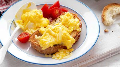 "Recipe: <a href=""http://kitchen.nine.com.au/2017/09/22/16/03/cheesy-scrambled-eggs"" target=""_top"">Cheesy scrambled eggs<br /> </a><br /> More: <a href=""http://kitchen.nine.com.au/2016/06/06/20/27/how-do-you-like-your-eggs-for-breakfast"" target=""_top"">egg recipes</a>"