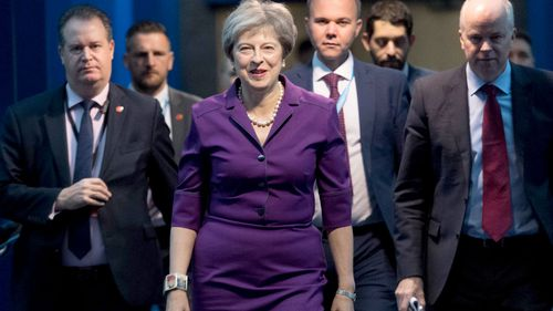 Prime Minister Theresa May arrives at the Conservative Party annual conference at the International Convention Centre, Birmingham.