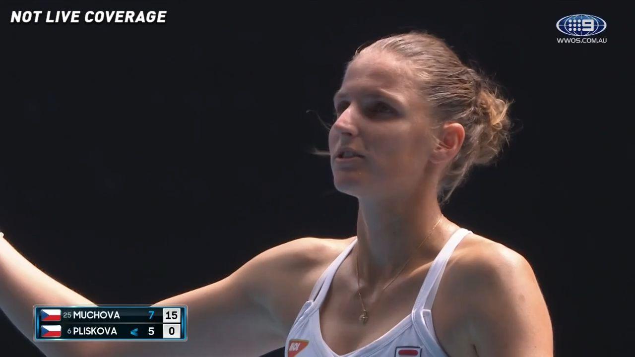 Karolina Pliskova cops code violation for smashing racquet in the tunnel