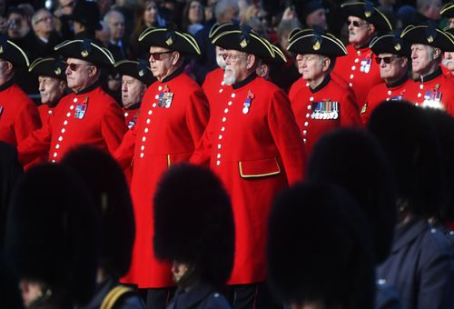 Chelsea Pensioners were among the veterans who marched after the Remembrance Day service in London.