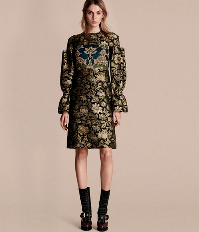 """<a href=""""https://us.burberry.com/shows-events/womens-runway-looks/"""" target=""""_blank"""">Burberry</a> floral tapestry and sequin dress, $5300"""