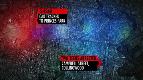 The Holden Commodore was later tracked to Collingwood. (9NEWS)