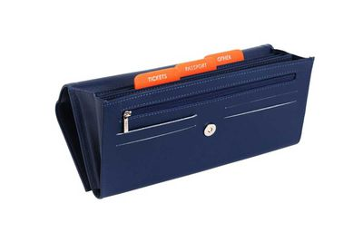 "<strong>Kikki K <a href=""http://www.kikki-k.com/leather-travel-doc-wallet-navy-resferer"">leather travel document wallet</a>, $79.95</strong>"