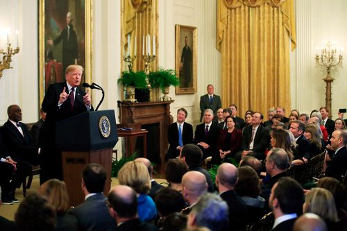 """Speaking to reporters after the decision, Trump said: """"If they (journalists) don't listen to the rules and regulations, we will end up back in court and we will win""""."""