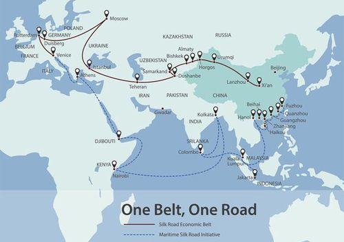 Graphic showing China's Belt Road Initiative (BRI) - also known as One Belt, One Road.