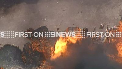 More than 50 firefighters were battling the blaze. (9NEWS)
