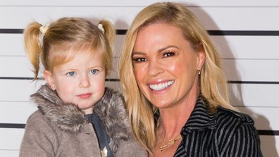 Maggie, two and a half, and her doting mama Sonia Kruger. Image: Getty.
