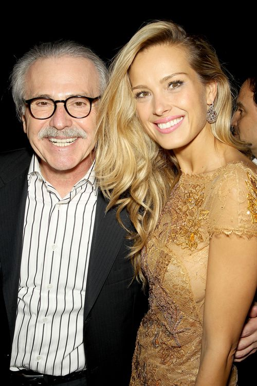 National Enquirer chief David Pecker, pictured with supermodel Petra Nemvoca, has shared details about the Trump payments with federal prosecutors.