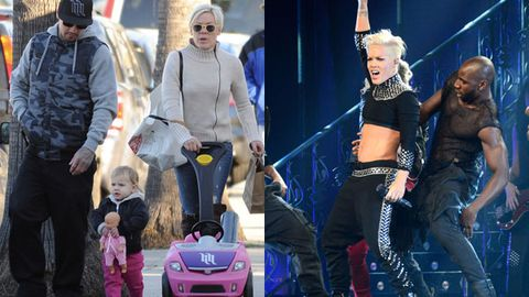 Pink and her husband Cary Hart head to their car after doing a bit of shopping along Abbott Kinney Boulevard in Venice, CA, with their daughter Willow / pink on stage