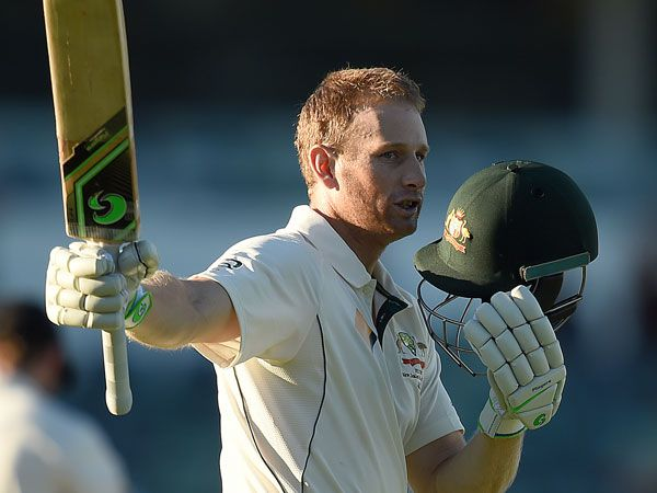 Adam Voges celebrates his century against New Zealand. (AAP)