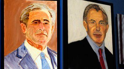 The president's self-portrait alongside former British PM Tony Blair. (AAP)