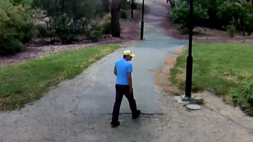 The alleged attack was caught on CCTV walking a dog in the park. (Supplied)