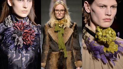 <p>Flowers: At the fall 2015 collections Gucci and Dries Von Noten prettied up the runway with OTT florals. Follow suit in a flower motif necklace in a mix of metals and fabrics to really make this look bloom.</p>