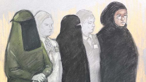 Mina Dich, 43, Rizlaine Boular, 21, and Khawla Barghouthi, 20, who are are members of Britain's first all-female Islamic State terror cell. (AAP)