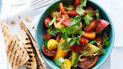 "Recipe: <a href=""http://kitchen.nine.com.au/2016/05/16/19/28/mixed-tomato-salad-with-sumac-herbs-and-flatbread"" target=""_top"">Mixed tomato salad with sumac, herbs and flatbread</a>"