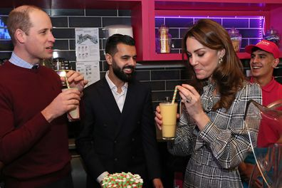 BRADFORD, ENGLAND - JANUARY 15: Catherine, Duchess of Cambridge samples a Kulfi milkshake at MyLahore on January 15, 2020 in Bradford, United Kingdom. MyLahore is a British Asian restaurant chain which has taken inspiration from Lahore, the Food Capital of Pakistan. The Duke and Duchess visited Lahore during their recent tour to Pakistan. (Photo by Chris Jackson/Getty Images) (Photo by Chris Jackson/Getty Images)