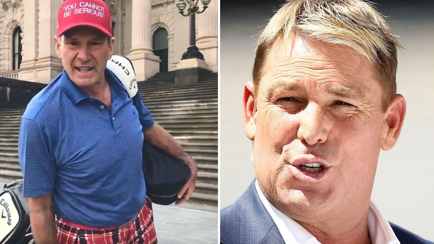 Shane Warne backs AFL great Sam Newman's bizarre Victorian golf protest
