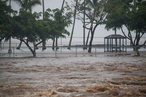 Bayfront soccer fields near Hilo have been left under water.
