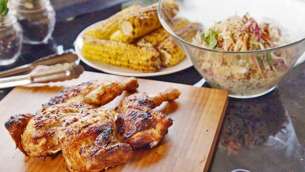Barbecued chicken and slaw
