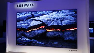 The wall is the world's first Modular MicroLed 146-inch TV. (Samsung)