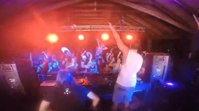 DJs drop the beats, then they drop their decks - or themselves - on and off stage.