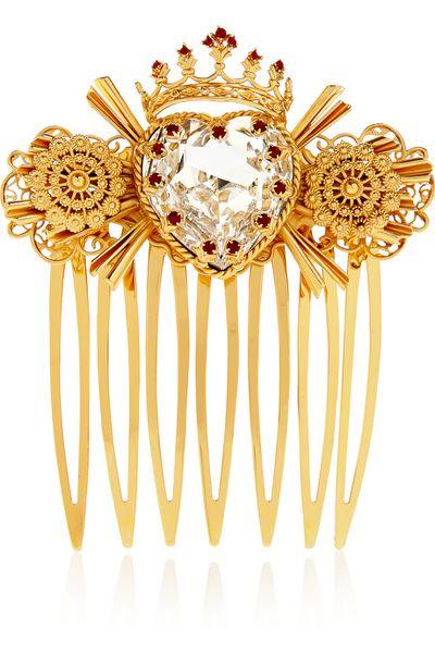 """<p><a href=""""http://www.net-a-porter.com/au/en/product/541354"""" target=""""_blank"""">Swarovski crystal-embellished gold-tone hair slide, $1,800, Dolce &amp; Gabbana</a></p>"""