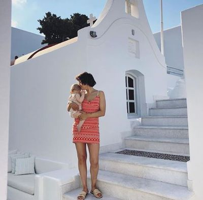 Zoë Foster Blake in a Scanlan Theodore dress and Carrie Forbes sandals in Greece