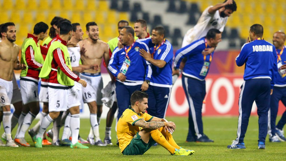 The Olyroos' Jamie Maclaren reacts after their bitter draw. (Getty)