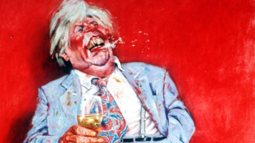Fictional character Sir Les Patterson, created and portrayed by Barry Humphries, painted by Leak for the Archibald Prize in 2000. (AAP)