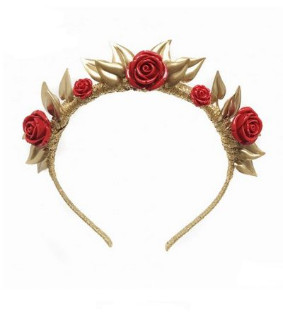 "<a href=""https://viktorianovak.com.au/collections/buy-me-now/queen-of-hearts.html"" target=""_blank"">Viktoria Novak</a> Queen of Hearts rosette crown, $795."