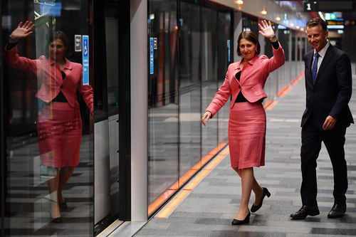 New South Wales Premier Gladys Berejiklian (left) holds a sentimental spot for the Northwest Metro project, something she began nine years ago. (AAP Image/Dean Lewins)