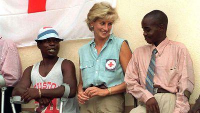 Princess Diana meets land mine victims in Angola, 1997