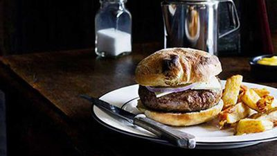 "<a href=""http://kitchen.nine.com.au/2016/05/16/17/03/april-bloomfield-lamb-burger"" target=""_top"">April Bloomfield's lamb burger with triple-cooked chips</a> recipe"