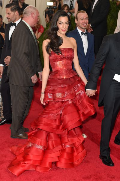 Amal Clooney in custom-made Maison Margiela at the 2015 Met Gala' <em>China: Through the Looking Glass'</em> in New York City