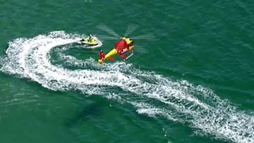 The Westpac helicopter monitoring the shark.
