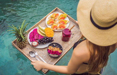 Floating breakfast in luxury hotel pool