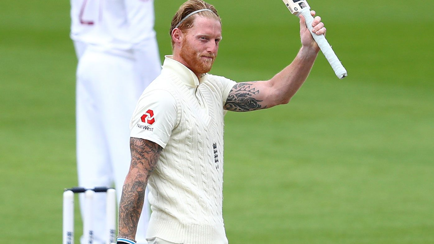 Ben Stokes of England celebrates after reaching his century